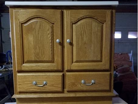 """30"""" golden oak bathroom vanity with new white top"""